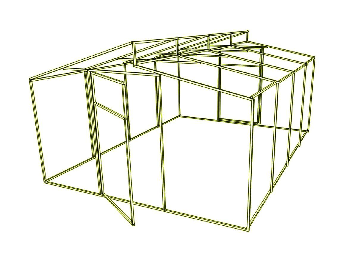 Каркас теплиці Мітлайдера (без полікарбонату) 400x600x235см